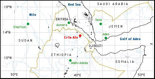 Ethiopian Erta Ale volcano Map