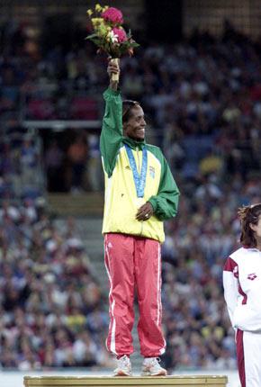 Derartu Tulu in 1992 Olympic victory